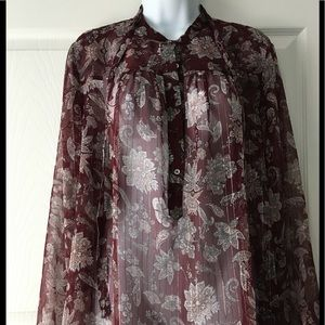LUCKY BRAND Sheer Floral Top
